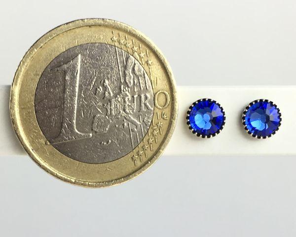 Konplott Black Jack Ohrstecker klassisch rund klein in blue sapphire #5450527601115
