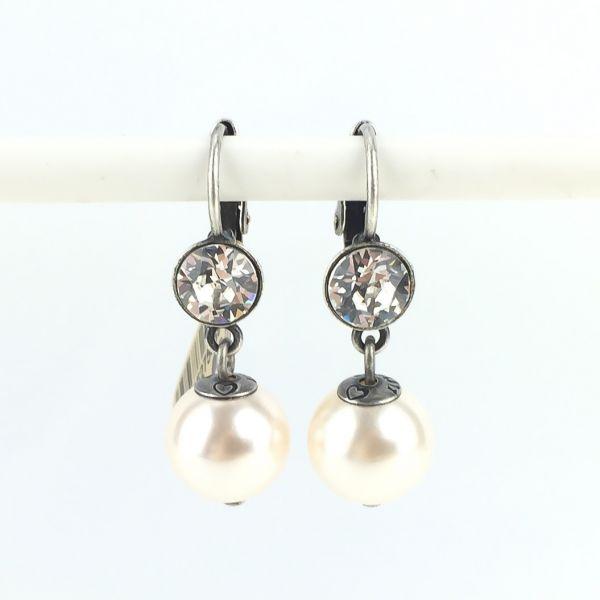 Konplott Pearl Shadow crystal 1 Perlen Ohrhänger mit Klappverschluss #5450527598941