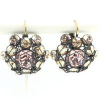 Bended Lights Ohrhänger mit Klappverschluss in Beige/ Vintage Rose