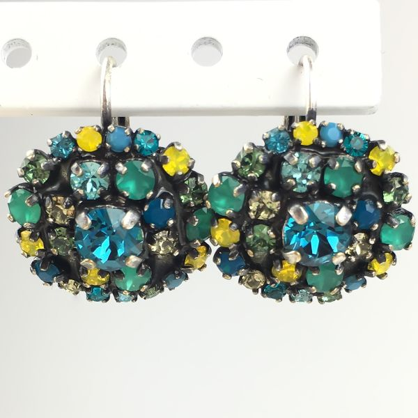 Konplott Ballroom Ohrhänger mit Klappverschluss grün, blau, gelb #5450543485621