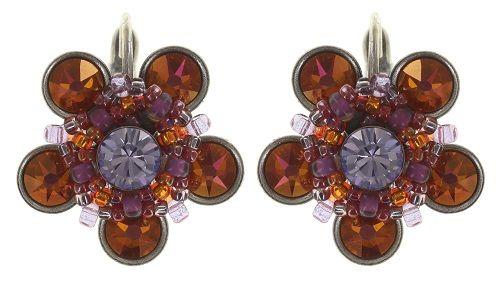 Konplott Apple Blossom Ohrhänger mit Klappverschluss braun/orange, lila #5450543664507