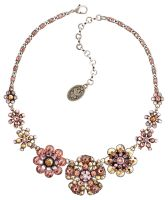 Konplott Lost Garden Halskette Choker beige/pink, Blumen #5450543652375