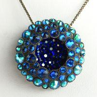 Konplott Inside Out blau/grüne Halskette mit Anhänger groß #5450543637983