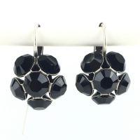 Disco Balls schwarze Ohrhänger mit Klappverschluss