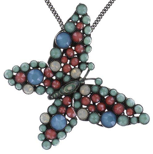 Konplott Lost Garden Halskette lang mit Anhänger pastel multi, Schmetterling #5450543652658