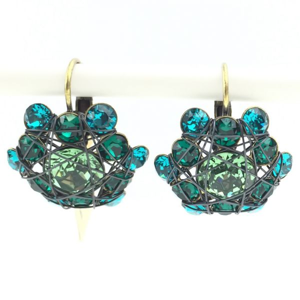 Konplott Bended Lights Ohrhänger mit Klappverschluss in Blau/ Grün #5450527759397