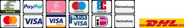 Zahlungsarten: Rechnung, PayPal, Klarna, Sofortüberweisung, Visa, Mastercard, Maestro, Servired, VISA Electron, Dankort, Carte Bleue, Postepay, Nachnahme, iDeal