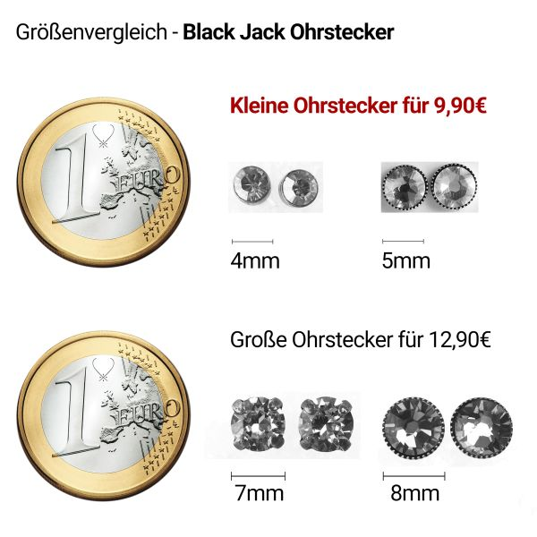 Konplott Black Jack Ohrstecker klassisch rund klein in white crystal #5450527601320