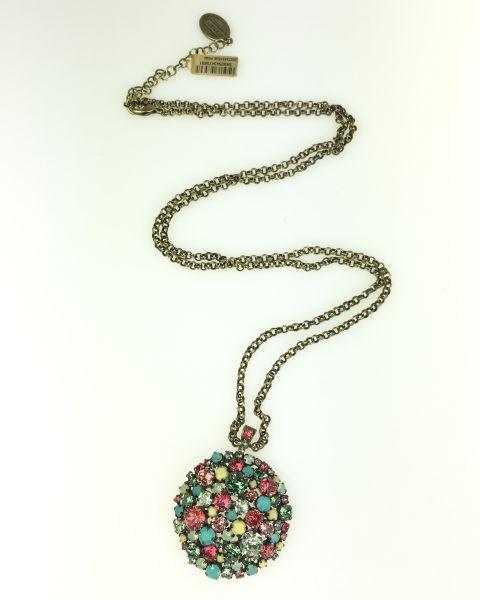 Konplott Ballroom multi Halskette mit Anhänger lang grün, gelb, rosa #5450543475691