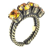 Konplott Colour Snake Ring in Topaz, gelb/braun