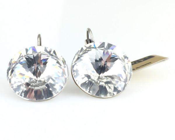 Konplott Rivoli crystal weiße Ohrhänger groß mit Klappverschluss #5450527558235