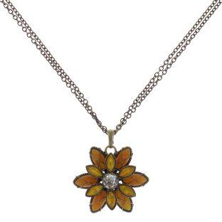 Konplott Psychodahlia Halskette mit Anhänger in gelb Messing #5450543730424