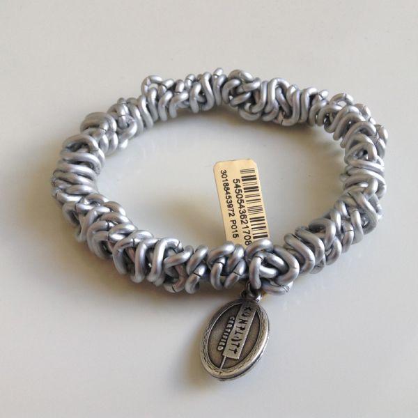 Konplott Bead Snakes elastisches Armband in silber/weiß matt #5450543621708