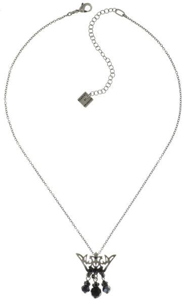 Konplott The Fox Halskette lang mit Anhänger Krone, schwarze Steine #5450543693149