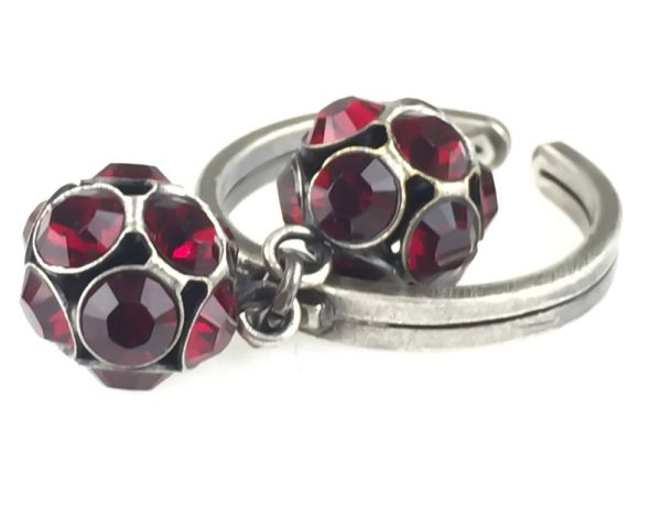 Konplott Disco Balls Ring in siam rot mit 2 Kugeln #5450527597326