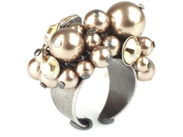 Pearl Shadow crystal golden shadow Ring