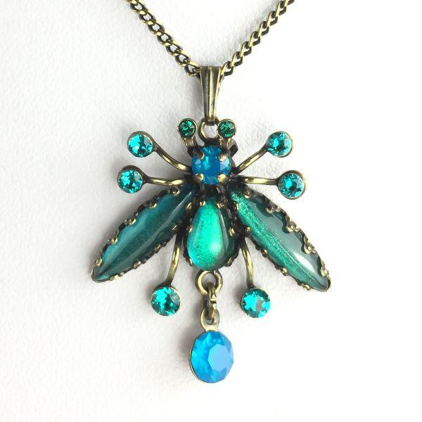 Konplott Flower Zumzum blau/grüne Halskette mit Anhänger #5450543621265