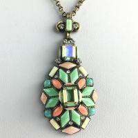 Konplott Marrakesch Halskette mit großem Anhänger grün, orange #5450543633763