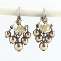 Pearl Shadow crystal golden shadow 5 Perlen Ohrhänger mit Klappverschluss