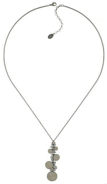 Konplott Planet River Halskette lang mit Anhänger weiß/beige #5450543644431