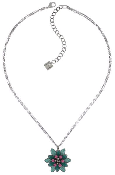 Konplott Psychodahlia Halskette mit Anhänger in grün/pink Silberfarben #5450543734668