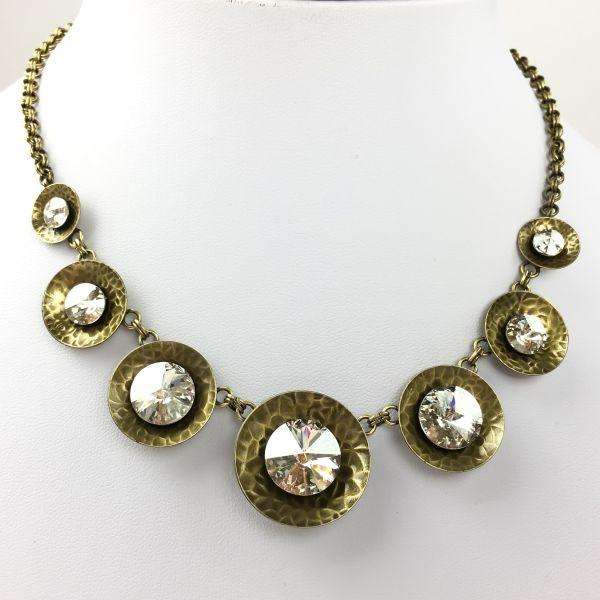 Konplott Rivoli Concave weiß crystal silver shade Halskette steinbesetzt #5450543473413