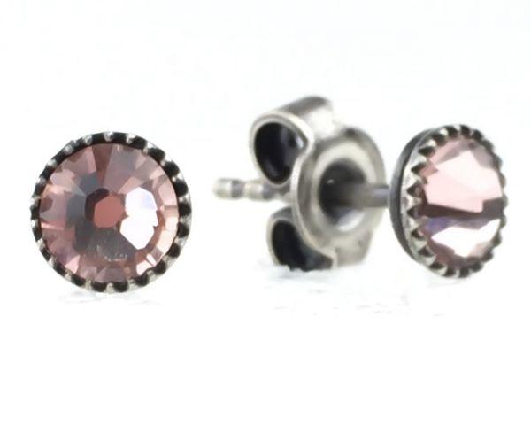 Konplott Black Jack Ohrstecker klassisch rund klein in pastel multi vintage rose #5450543212821