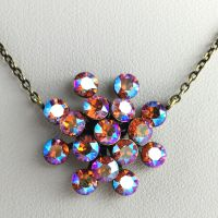 Konplott Magic Fireball braun/orange shimmer Halskette mit Anhänger #5450543631363