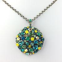 Konplott Ballroom Halskette mit Anhänger grün, blau, gelb