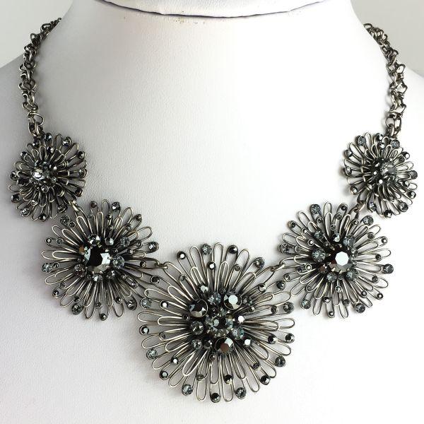 Konplott Distel schwarze Halskette steinbesetzt #5450543628097