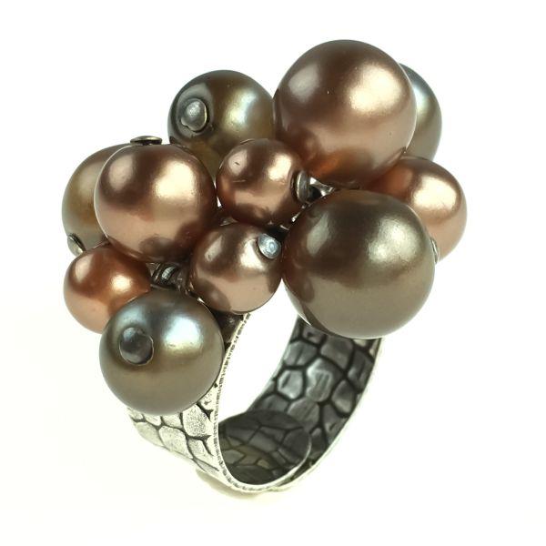 Konplott Caviar de Luxe braun/grauer Ring mit Perlen #5450543620947