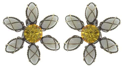 Konplott Psychodahlia Ohrstecker in gelb Messing #5450543734118