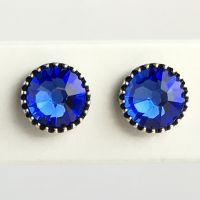 Konplott Black Jack Ohrstecker klassisch rund klein in blue sapphire