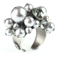 Pearl Shadow black diamond Ring