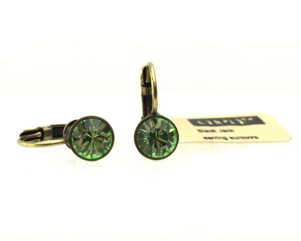 Konplott Black Jack Ohrhänger mit Klappverschluss in Peridot, grün #5450527110396