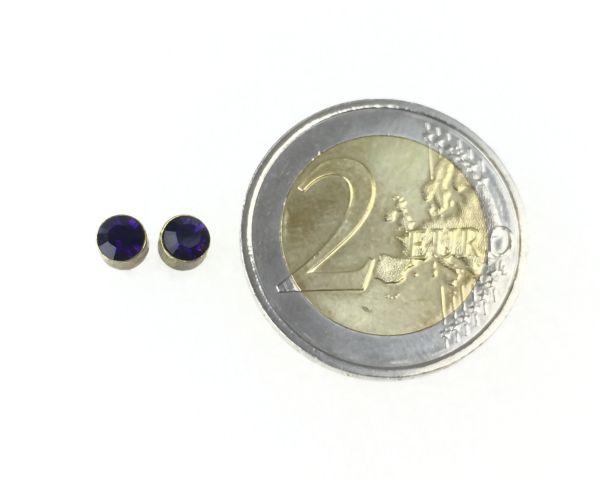 Konplott Black Jack Ohrstecker klassisch rund klein in Purple Velvet #5450527376006
