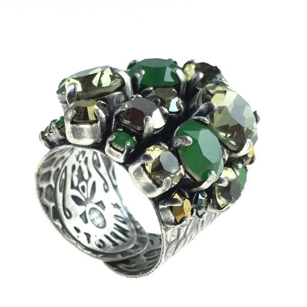 Konplott Ballroom Classic Glam grün/brauner Ring #5450543611419