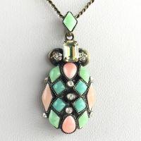 Konplott Marrakesch Halskette mit mittelgroßem Anhänger grün, orange #5450543644110