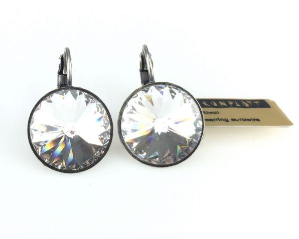 Konplott Rivoli crystal weiße Ohrhänger mit Klappverschluss #5450527495370