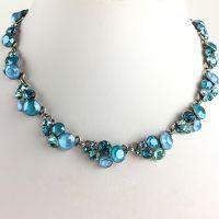 Konplott Petit Glamour hellblaue Halskette steinbesetzt #5450543630908