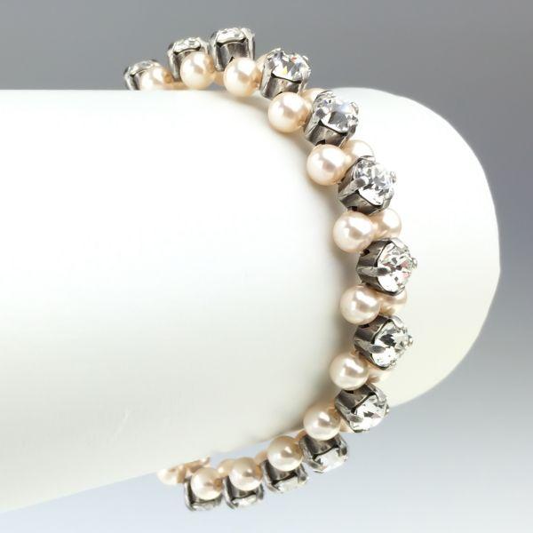 Pearl Shadow crystal Armband elastisch (M)