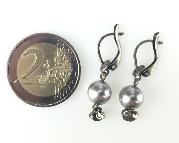 Konplott Pearl Shadow black diamond Ohrhänger mit längl. Verschluss #5450527480819