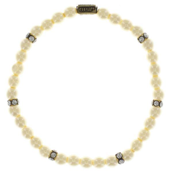 Konplott Pirates in Paris elastisches Armband mit weißen Perlen #5450543654843