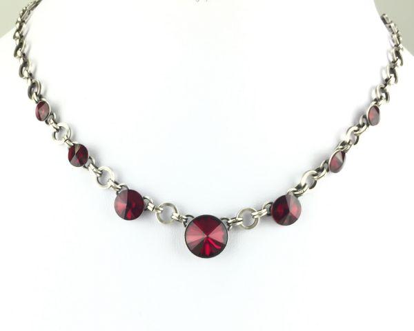 Konplott Rivoli rote Halskette partiell steinbesetzt #5450527612807
