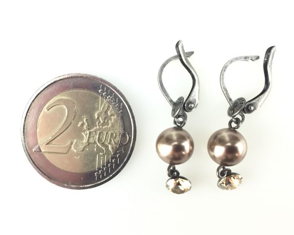 Konplott Pearl Shadow crystal golden shadow Ohrhänger mit längl. Verschluss #5450527598750
