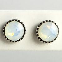 Konplott Black Jack Ohrstecker klassisch rund klein in white opal
