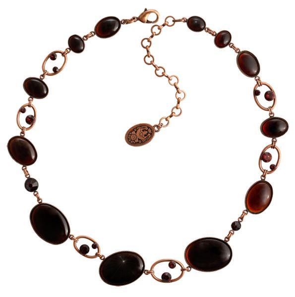 Konplott Oval in Concert Halskette steinbesetzt in braun #5450543698670