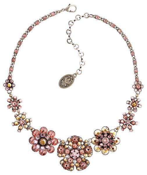Konplott Lost Garden Halskette Choker beige/pink, Blumen NUR NOCH KURZE ZEIT VERFÜGBAR #5450543652375