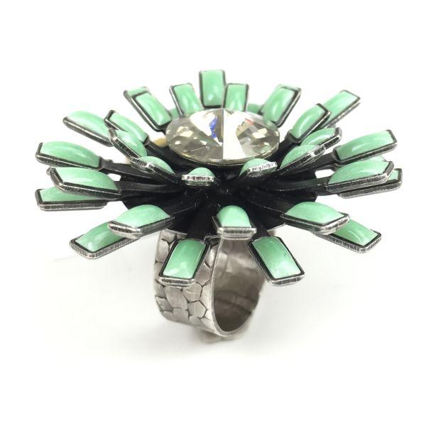 Konplott Love You Love You Not crystal silver shade/ grüner Ring groß #5450543305325