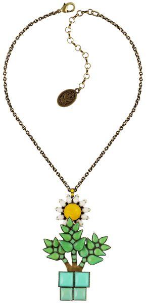 Konplott Sunflower Halskette mit Anhänger in gelb/weiß/grün Größe L #5450543737539